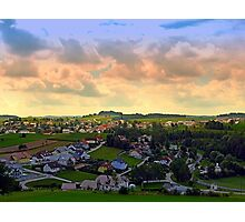 Beautiful village skyline beyond cloudy sky | landscape photography Photographic Print