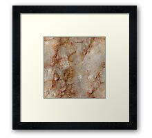 Realistic Brown Faux Marble Stone Pattern Framed Print