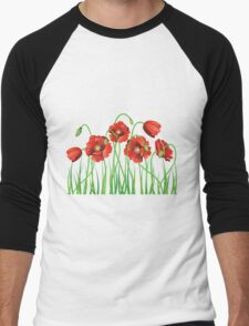 Poppy with Grass Men's Baseball ¾ T-Shirt