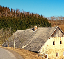 Traditional abandoned farmhouse | architectural photography Sticker