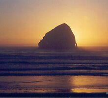 Haystack Rock Cape Kiwanda Sunset by Pagani