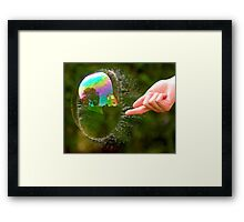 Green Bubble Popping (One-Sided Reflection!) Framed Print
