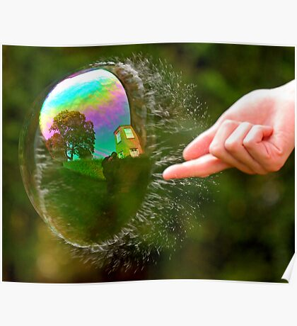 Green Bubble Popping (One-Sided Reflection!) Poster
