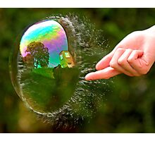 Green Bubble Popping (One-Sided Reflection!) Photographic Print