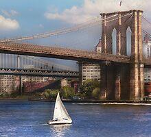 Sailing under the Brooklyn Bridge by Mike  Savad