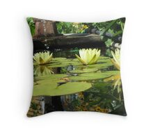 Yellow lillypads Throw Pillow