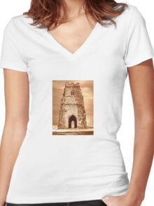 St Michaels Tower, Glastonbury Tor Women's Fitted V-Neck T-Shirt