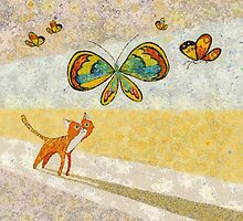 CAT WATCHING BUTTERFLIES by Jean Gregory  Evans