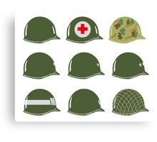 US Army Helmets WW2 Canvas Print