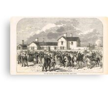 New railway station Epsom Downs 1865 Canvas Print