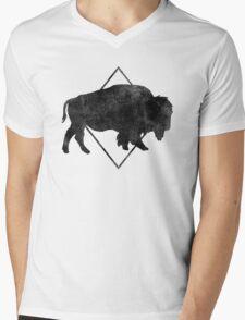 Bison & Blue Mens V-Neck T-Shirt