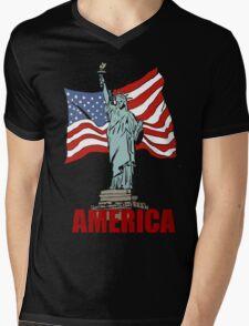America Mens V-Neck T-Shirt