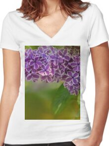 lilac blossom Women's Fitted V-Neck T-Shirt