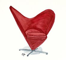 The Heart cone chair - Watercolor painting  by Eugenia Alvarez