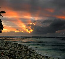 Sunset Rays - Cocos (Keeling) Islands by Karen Willshaw