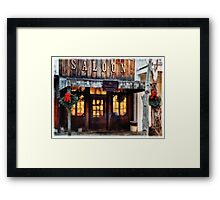 Whiskey Flat Saloon Western Watercolor Framed Print