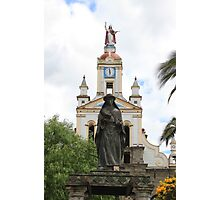Statue of Saint Anne Next to a Church Photographic Print