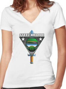 STEEL BRIGADE. Women's Fitted V-Neck T-Shirt