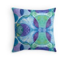 Watercolor Circles - Blue Throw Pillow