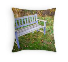 The pale blue bench at Black Springs Bakery Throw Pillow