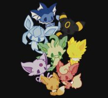 pokemon eevee vaporeon espeon flareon evolutions anime shirt Kids Clothes