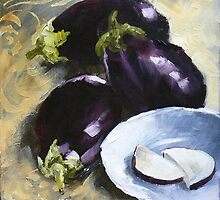 Aubergines with White bowl by tanyaj