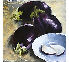 Aubergines with White bowl Photographic Print