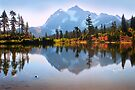 Mount Shuksan and Picture Lake in Fall. North Cascades National Park. WA. USA. by PhotosEcosse