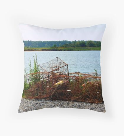 Rusted Crab Pots Throw Pillow