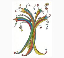 Star Tree Doodle One Piece - Short Sleeve