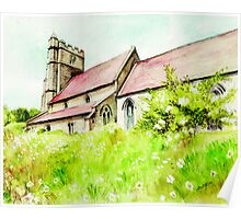 Old English Country Church Poster