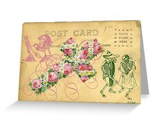 Rose Cross Skeleton Day Of The Dead Greeting Card