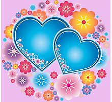 Sparkling blue hearts Photographic Print