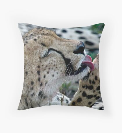 Grooming Cheetah Throw Pillow