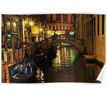 Night Scene on a Small Canal in Venice Poster