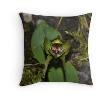 Large/Common Bird orchid (Chiloglottis valida) Throw Pillow