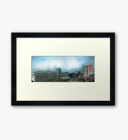 Brush Stroke City Landscape Framed Print