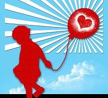 Child with love ballon. By James Cattlett by CattlettArt