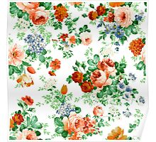 Colorful Flowers And Roses Pattern Poster