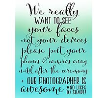 Wedding Photography 3 - Aqua Photographic Print