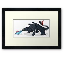 Toothless & Totodile Framed Print