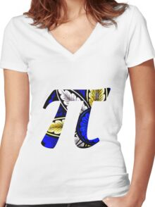 Stained Glass Pi 1 Women's Fitted V-Neck T-Shirt