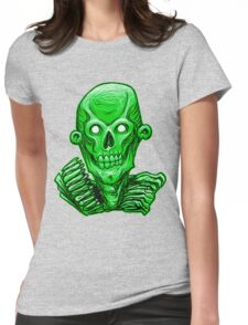 Zombie Skull Head Green Womens Fitted T-Shirt