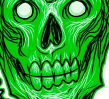 Zombie Skull Head Green Sticker
