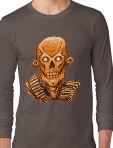 Zombie Skull Head Orange Long Sleeve T-Shirt