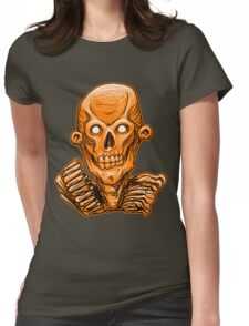 Zombie Skull Head Orange Womens Fitted T-Shirt