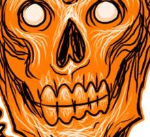Zombie Skull Head Orange Sticker