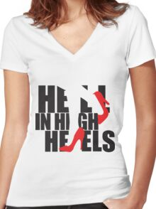 Hell in High Heels Women's Fitted V-Neck T-Shirt