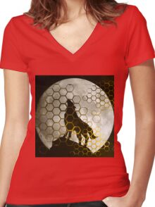 Wolf on cyber mountain Women's Fitted V-Neck T-Shirt
