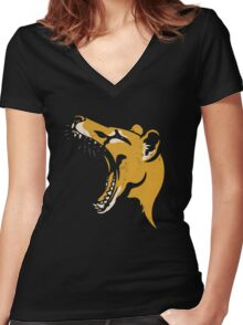 Tasmanian Tiger stencil Women's Fitted V-Neck T-Shirt
